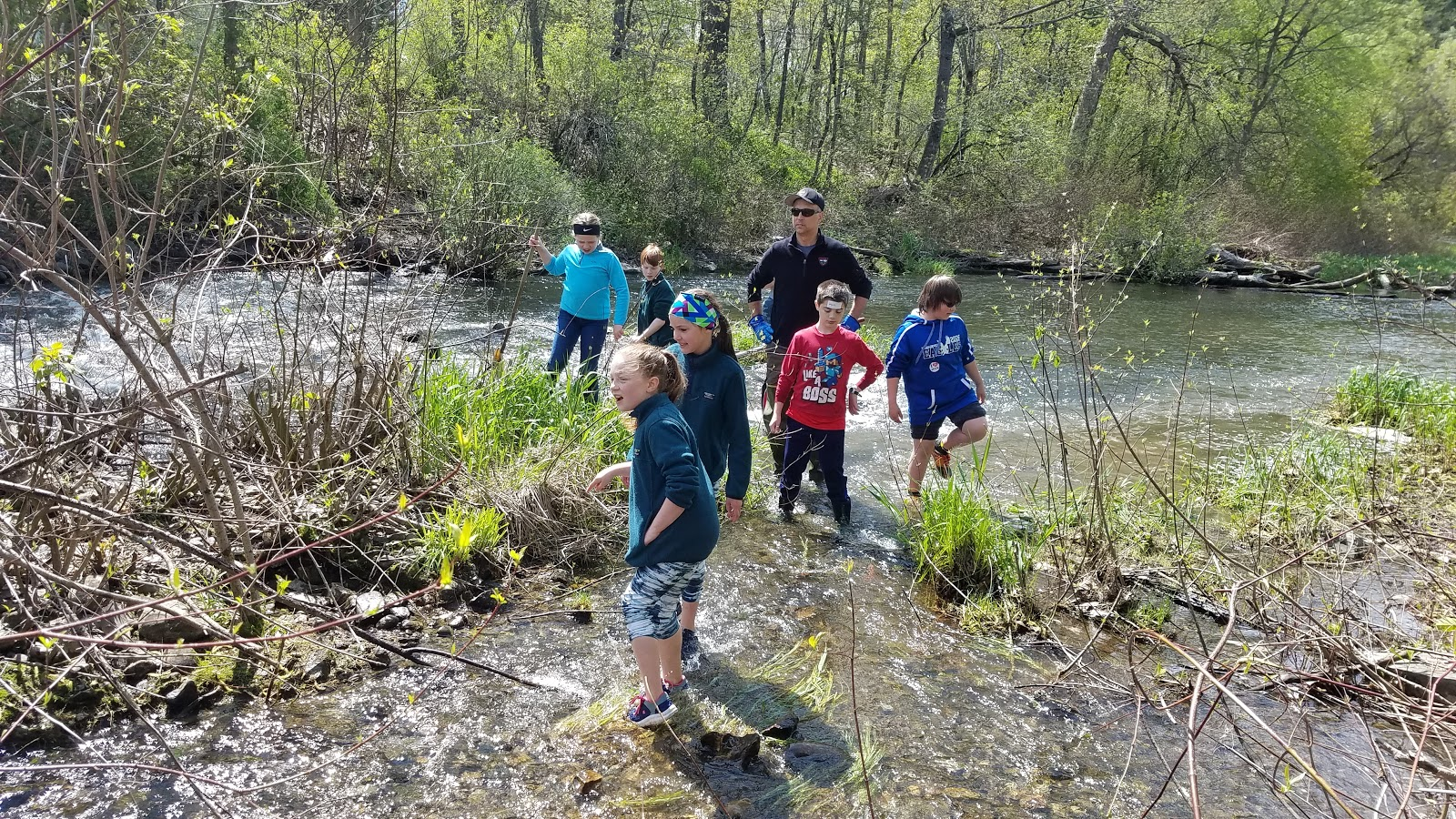 Students looked for invertebrates (and fish) with biologist Wes Ashe.