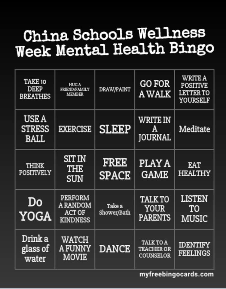 China School Mental health bingo